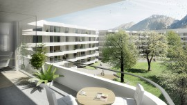 Wohnhausanlage Sillblock in Innsbruck: Die elegante Balkonlandschaft wurde mit dem Schöck Isokorb® realisiert (c) Rendering: SSW Architekten