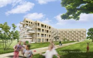Hängende Gärten war den Architekten als Motto vorgegeben. Mit Unterschiedlichen auskragenden Balkonen wird dieser Eindruck im Endausbau erreicht. (c) Hertl Architekten