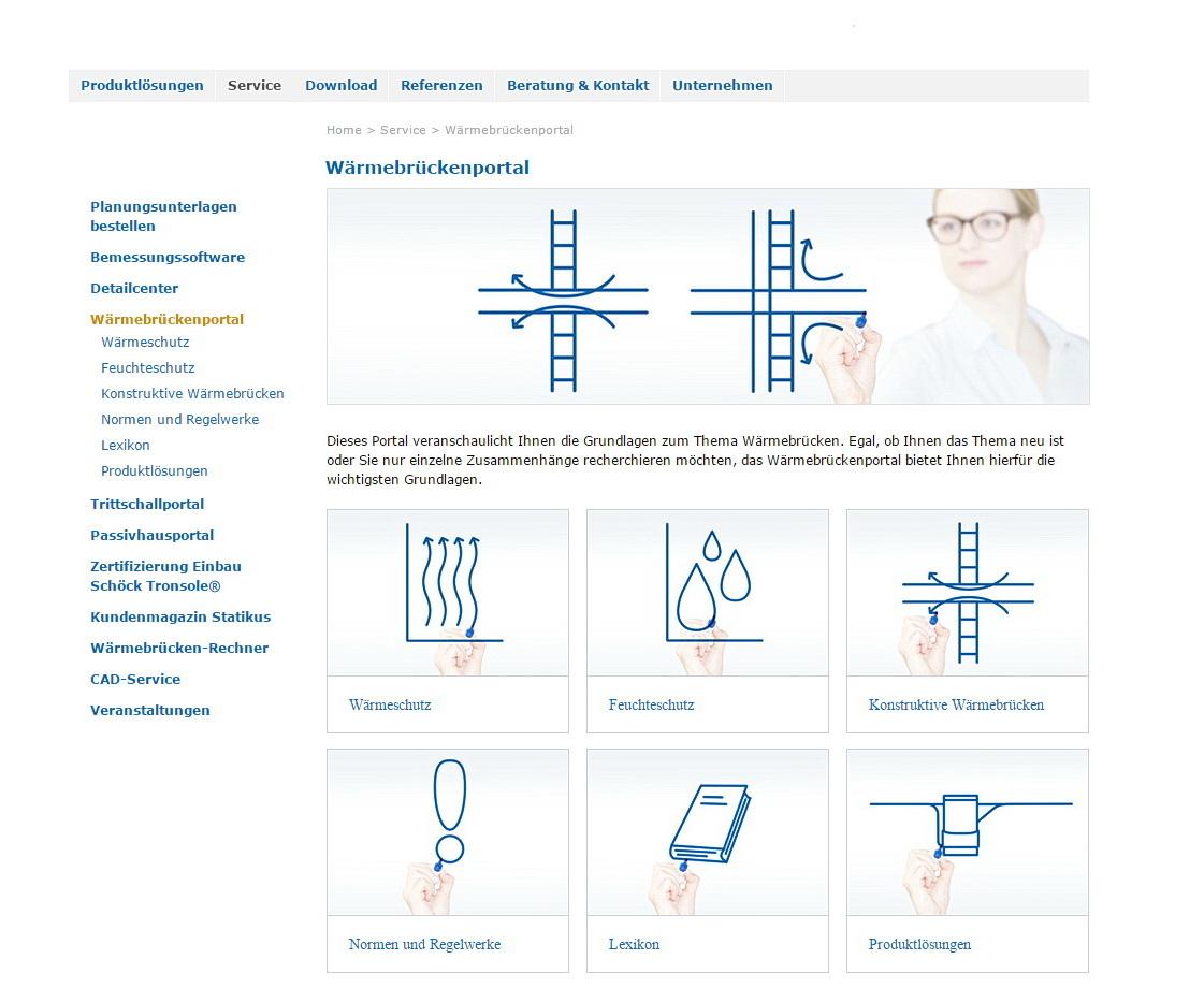 Wärmebrückenportal Screenshot (c) Schöck Bauteile